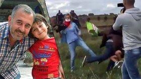 Maďarská kameramanka podkopla nohy uprchlíkovi s dítětem v náručí. Šlo o syrského trenéra fotbalistů.