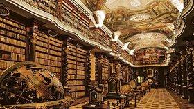 Barokní knihovna v pražském Klementinu.