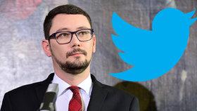 Prezidentův mluvčí Jiří Ovčáček a logo sociální sítě Twitter