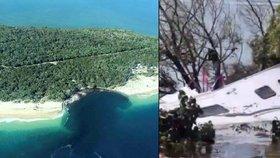 Část australské pláže se propadla do moře a vzala s sebou i některá auta a přívěsy kempařů.