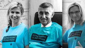 """Kampaň """"Různé rodiny, stejná práva"""" podpořili i ministři Valachová, Babiš a Šlechtová."""
