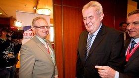 Prezident Miloš Zeman a předseda zemanovců Jan Veleba