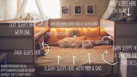 Sedmičlenná rodina z amerického Texasu spí v jedné velkoposteli, kterou sestavil otec.