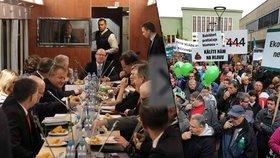 Sobotkova vláda vyrazila jednat vlakem do Ústí. Vítali ji tam pískající horníci.