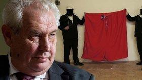 Jako vzdor proti prezidentu Miloši Zemanovi vyvěsila skupina Ztohoven nad Hradem rudé trenky.