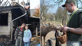 Už 15 let zachraňuje Michal Fišer v Srdově na Litoměřicku zvířecí sirotky. Teď ale dům i zoocentrum, které vybudoval se synem, lehly popelem.