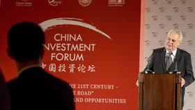 Miloš Zeman vystoupil na Čínském investičním fóru 2015 na Pražském hradě.