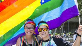 Duhová vlajka se stala symbolem homosexuálního hnutí.