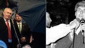 Listopadový Miloš Zeman. V letech 2014 a 1989