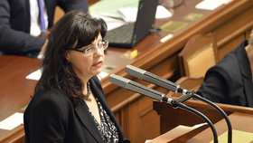 Ministryně práce a osciálních věcí Michaela Marksová (ČSSD) 13. listopadu 2015 ve sněmovně