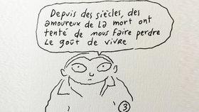 Karikatura z pera kreslíře, který pracoval i pro Charlie Hebdo.