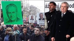 Prezident Zeman na Albertově: Jeho příznivci si přinesli zelené karty
