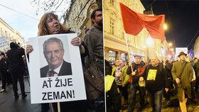17. listopad 2015: Příznivci prezidenta Zemana se sešli na Albertově, odpůrci vyrazili z Národní třídy na Hrad.