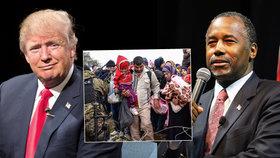 Kandidáti na prezidenta Trump a Carson šokovali slovy o uprchlících.