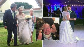 Vnučka exprezidenta USA se vdávala. George Bush nemohl na veselce chybět.