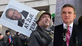 Někteří z podporovatelů Miloše Zemana z letošního Albertova se podívali až na Hrad. Přivítal je tam i kancléř Mynář.