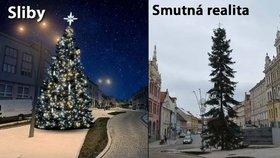 Vánoční stromek ve Strakonicích nevypadá zdaleka tak, jak podle slibů měl.