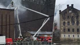 Požár bývalého mlýna v Krnsku způsobil škodu sedm milionů korun.