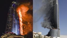 Požár luxusního hotelu Address Downtown v centru Dubaje
