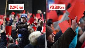 Červená karta, kam se podíváš. Vlevo Praha v listopadu 2014, vpravo polská Poznaň v lednu 2016