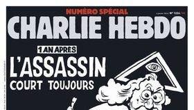 """Rok poté: Vrah stále na útěku"" – Tak vypadá titulka Charlie Hebdo rok po útocích."