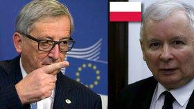 Krok Evropské komise jen vyostří vztahy mezi Bruselem a Varšavou. Na snímku předseda EK Juncker a šéf strany PiS Kaczynski.