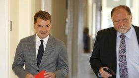 Marek Dalík u soudu kvůli kauze Pandur s advokátem Sokolem (srpen 2014)
