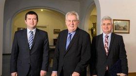 Prezident se setkal při tradičním novoročním obědě s předsedy obou komor českého parlamentu.