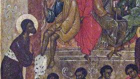 Pskovská ikona ze 16. století zobrazující omývání nohou Kristem