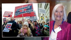Norská odbornice Kari Killénová, psychologická guru Barnevernetu, proti kterému se protestovalo i v Praze.