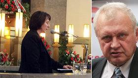 Vdova po europoslanci Ransdorfovi Vlasta na pohřbu svého manžela