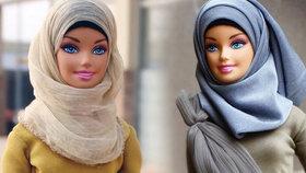 Nigerijská dívka obléká panenky Barbie do muslimských šátků.