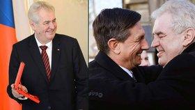 Prezident Miloš Zeman při čtvrteční návštěvě slovinského prezidenta Boruta Pahora