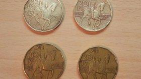 Snadno a za minimální náklady! Zde vidíte srovnání vyčištěných mincí s ostatními mincemi z peněženky.