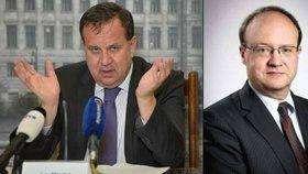 Ministr průmyslu a obchodu Jan Mládek (ČSSD) a jeho dobře placený náměstek Tomáš Novotný