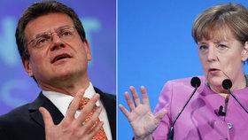 Eurokomisař Maroš Šefčovič a německá kancléřka Angela Merkelová