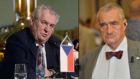 Prezident Miloš Zeman (vlevo) a čestný předseda TOP 09 Karel Schwarzenberg