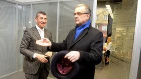Miroslav Kalousek a Andrej Babiš v redakci Blesku