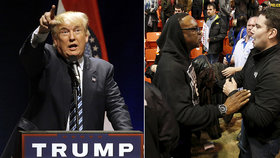 Na Trumpově shromáždění v Chicagu došlo ke střetům jeho příznivců a odpůrců.