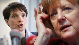 Lídryně Alternativy pro Německo Frauke Petryová a německá kancléřka Angela Merkelová