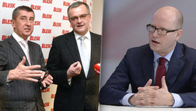 Bohuslav Sobotka a Andrej Babiš s Miroslavem Kalouskem v redakci Blesku