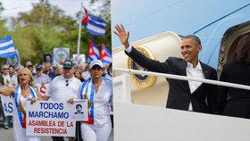 Obama za pár hodin přiletí na Kubu: Policie mezitím zadržela desítky žen.