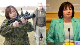 První dáma ve vojenském a v civilu: Zbraň do ruky se vzít rozhodně nebojí