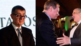 Andrej Babiš a Karel Schwarzenberg na sněmu STAN pogratulovali staronovému předsedovi Gazdíkovi.