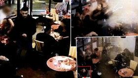 Nahrávka ukazuje moment, kdy se Brahim Abdeslam odpálil v pařížské kavárně.