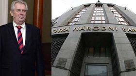 Česká národní banka a prezident Miloš Zeman