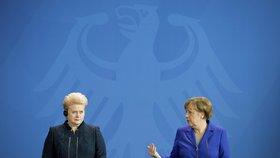 Prezidentka Litvy Dalia Grybauskaiteová s německou kancléřkou Angelou Merkelovou