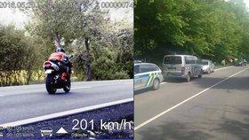Zdrogovaný motorkář ujížděl policii rychlostí 200 km/h! Při pronásledování došlo i na střelbu.