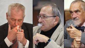 Kuřáci Zeman, Kubera a Schwarzenberg reagovali na krach protikuřáckého zákona.
