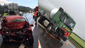 Tragédie na Benešovsku: Po srážce s cisternou zemřel řidič osobáku